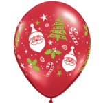 "11"" Santa & Christmas Tree latex balloons x 50"